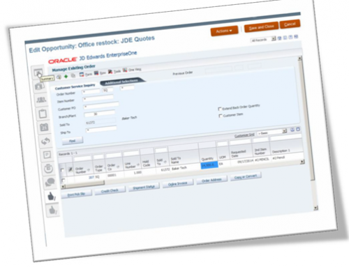 High Level Integration Areas for Oracle Sales Cloud and JD Edwards